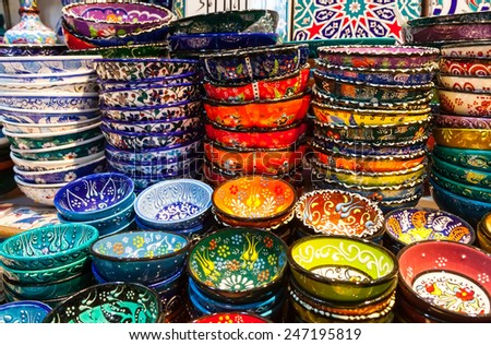 Classical Turkish ceramics on the market Grand Bazaar - stock photo