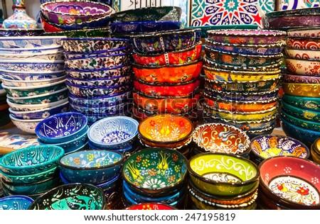 Classical Turkish ceramics on the market Grand Bazaar - stock photo
