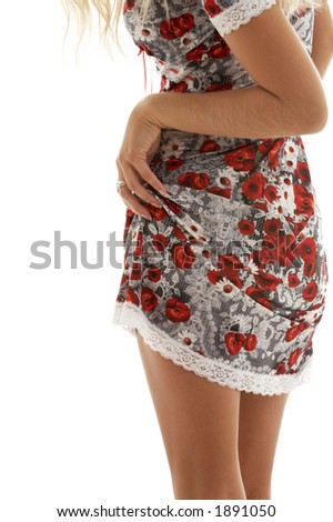 classical up-skirt image of fit lady - stock photo