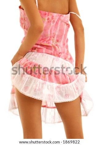 classical up-skirt picture of fit lady - stock photo