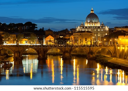 Classical view on Vatican over the Tiber river at night. - stock photo