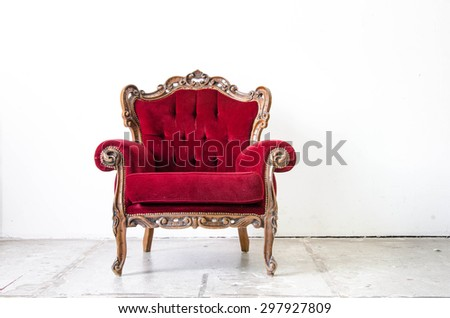 Classical vintage armchair on white background