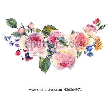 Classical vintage floral greeting card, watercolor bouquet of English roses and wildflowers, botanical natural watercolor illustration on white Background - stock photo