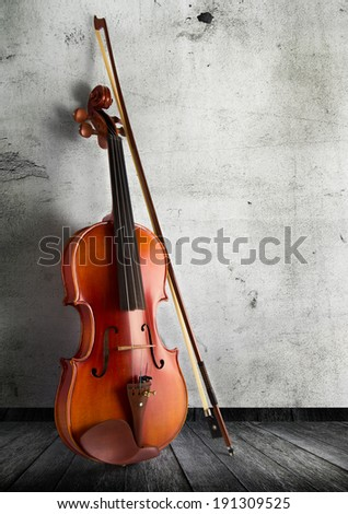 classical violin in vintage background - stock photo
