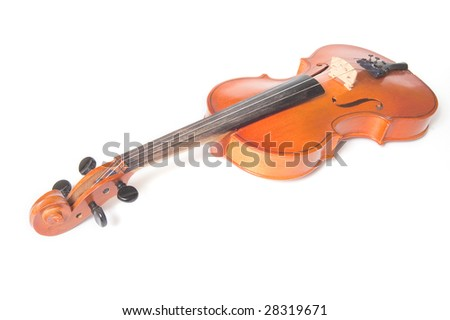 Classical violin isolated on white background - stock photo