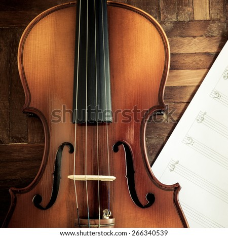 classical Violin on blank Music sheet for music composer concept background - stock photo
