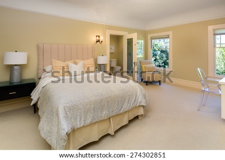 Classical white bedroom interior in beige.  - stock photo
