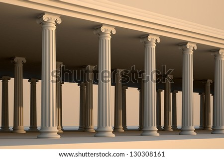 Classical white Greek style columns.