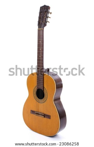 Classical Wood Guitar on white background . - stock photo