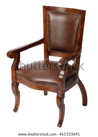Classical wooden antique chair isolated on white background