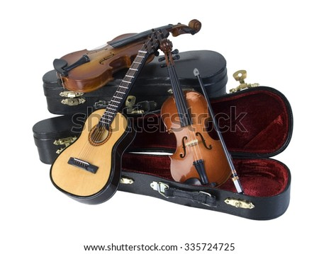 Classical wooden Guitar and Violins with with molded carrying case - path included - stock photo