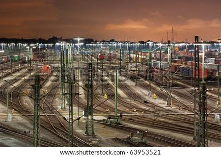 Classification yard Maschen near Hamburg, Germany at night, it is the biggest marshalling yard in Europe. - stock photo