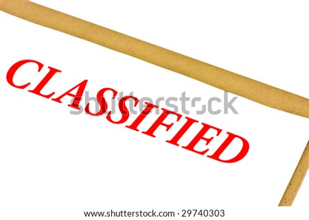 Classified paper isolated on white - stock photo