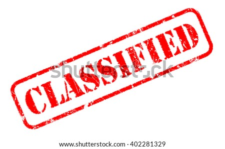 CLASSIFIED rubber stamp text on white - stock photo