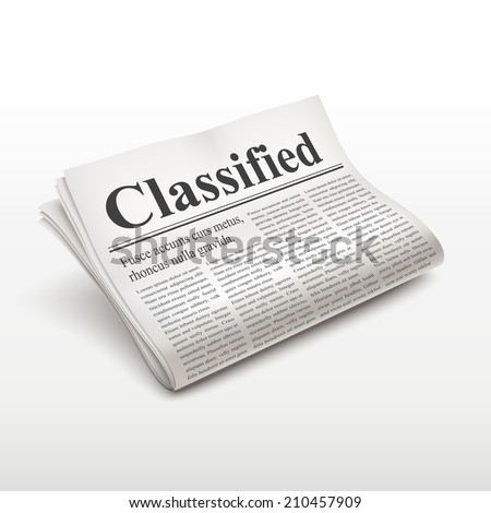 classified words on newspaper over white background - stock photo