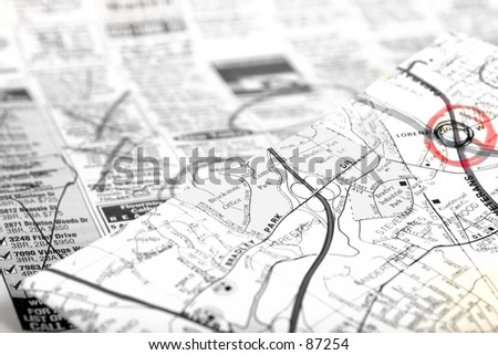 Classifieds and map - stock photo