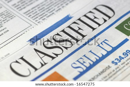Classifieds section in newspapers - buy and sell - stock photo