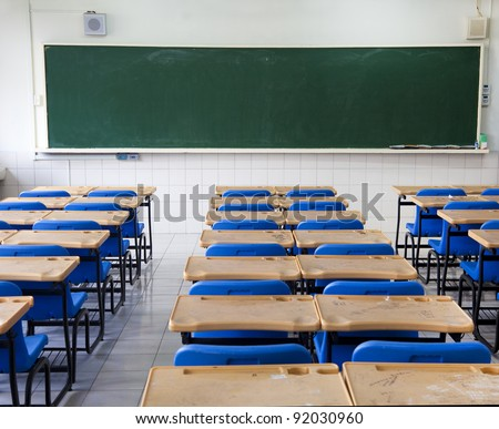 classroom and chalkboard - stock photo