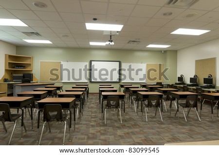 Classroom at Public Middle School - stock photo