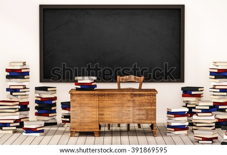 Classroom, blackboard on white wall with table, chair and piles of books on wooden floor, 3d rendered - stock photo