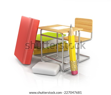 classroom chair desk with stationery objects - stock photo