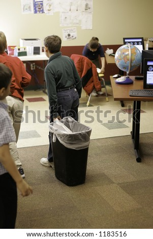 Classroom cleanup - stock photo