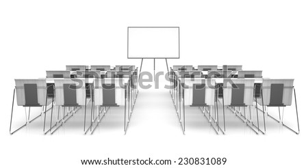 Classroom isolated on white background 3D rendering  - stock photo