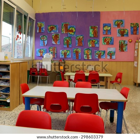 Classroom Of A Kindergarten With Red Chairs Without Chidlren