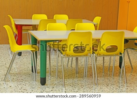 classroom of a kindergarten with yellow chairs without person