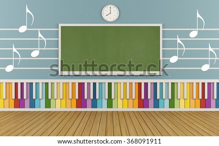 Classroom of a school of music with colorful keyboard and  musical notes on the wall-3D Rendering - stock photo