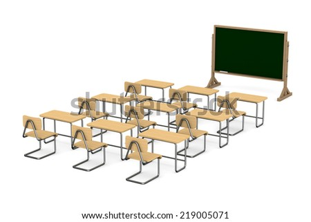 Classroom on white background. Isolated 3D image - stock photo