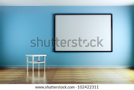 Classroom with blue walls and white boards.