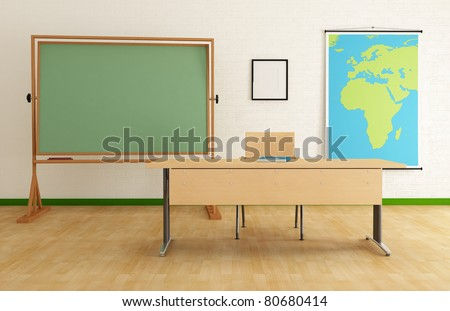 Classroom with desk green blackboard and map - rendering - the map on wall is a my image - stock photo