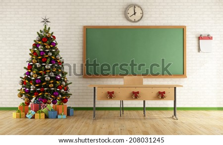 Classroom without student with christmas tree and decoration - rendering - stock photo