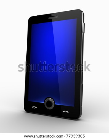 Classy cellphone - blue screen - stock photo
