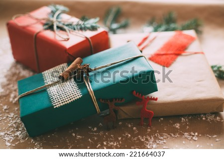 Classy christmas gifts box presents on stock photo 221664037 classy christmas gifts box presents on brown paper negle Gallery