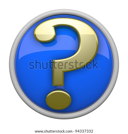 Classy gold and blue question mark icon with reflective backing. - stock photo