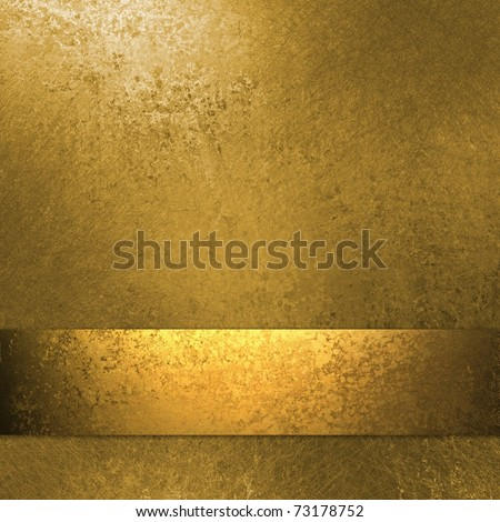 classy gold background wall paint border with vintage grunge background texture, bronze gold ribbon, metal  antique burnished gold paper Christmas wrap design or golden anniversary or soft aged label - stock photo