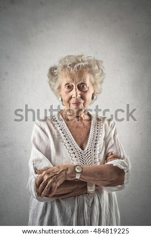 Classy grandmother wearing a white dress