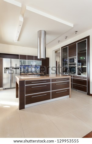 Classy house - interior of a contemporary kitchen - stock photo