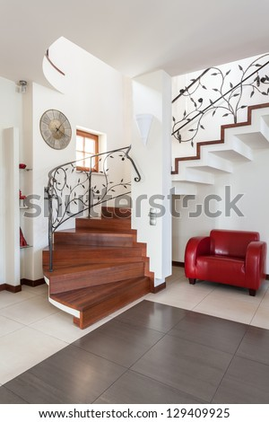 Classy house - stairs in modern and bright house interior - stock photo