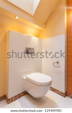 Classy house - White and orange toilet room