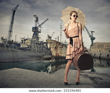 Classy traveler at the harbour  - stock photo