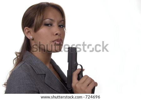 Classy woman with .45 calibre pistol