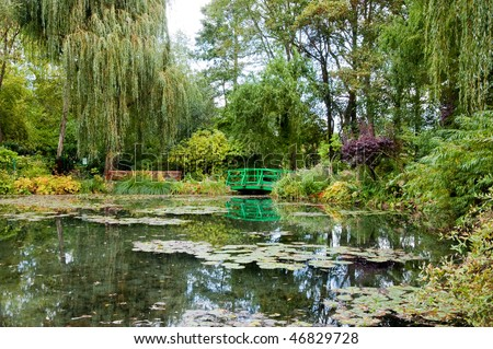 Claude Monet's garden and pond in Giverny France - stock photo