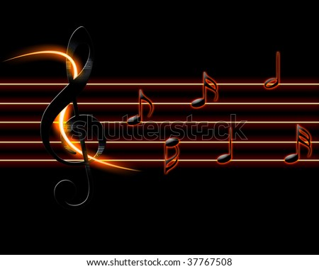 Clave with light streaks and glowing notes. - stock photo