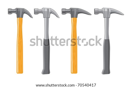 Claw Hammers is an illustration of hammers with both curved and straight  claws. There is a wooden handle and a metal handle version of each.