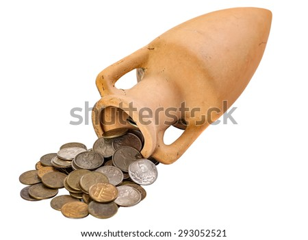 clay amphora with coins were scattered isolated on a white background - stock photo