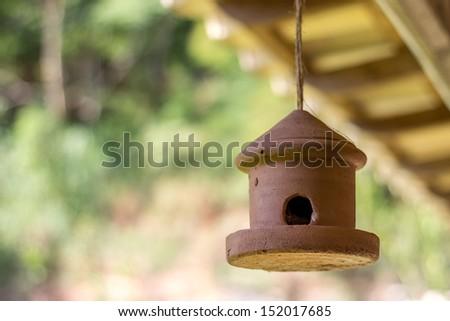 Clay birdhouse - stock photo