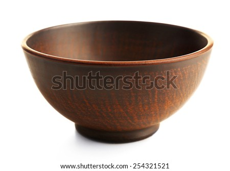 Clay bowl isolated on white - stock photo